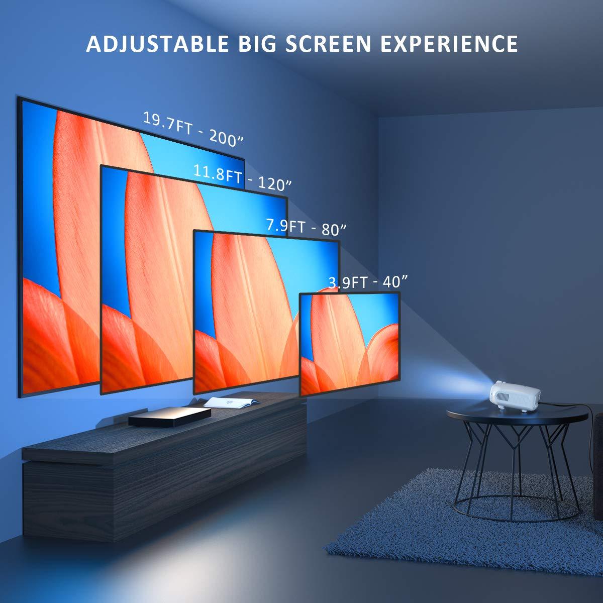 Crenova Proyector Mini Port/átil Proyector Cine en Casa con L/úmenes 3800 Soporte Full HD 1080p Proyector Rojo Resoluci/ón Nativa 720P Compatible con HDMI//USB//Tarjeta SD//VGA//AV//TV Box