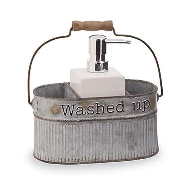 Mud Pie Tin Soap Pump Set with Ceramic Dispenser