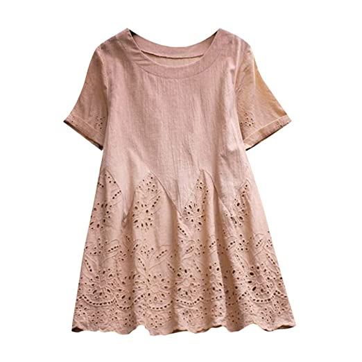 f4a17ca51e7 Funic Women Vintage Solid Color Floral Print Hollow Out Hem O-Neck Short  Sleeve Plus
