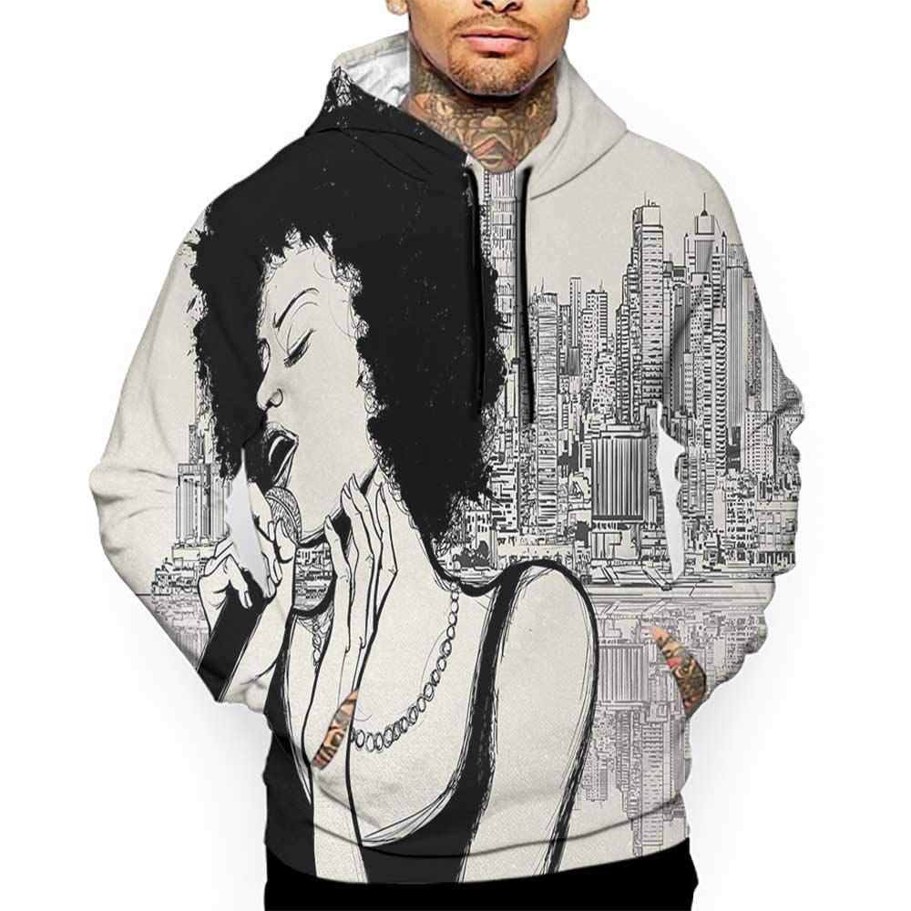 Hoodies Sweatshirt/ Men 3D Print African,American Jazz Music Girl Performing in Front of New York Manhattan Illustration,Black Grey Sweatshirts for Teen Girls
