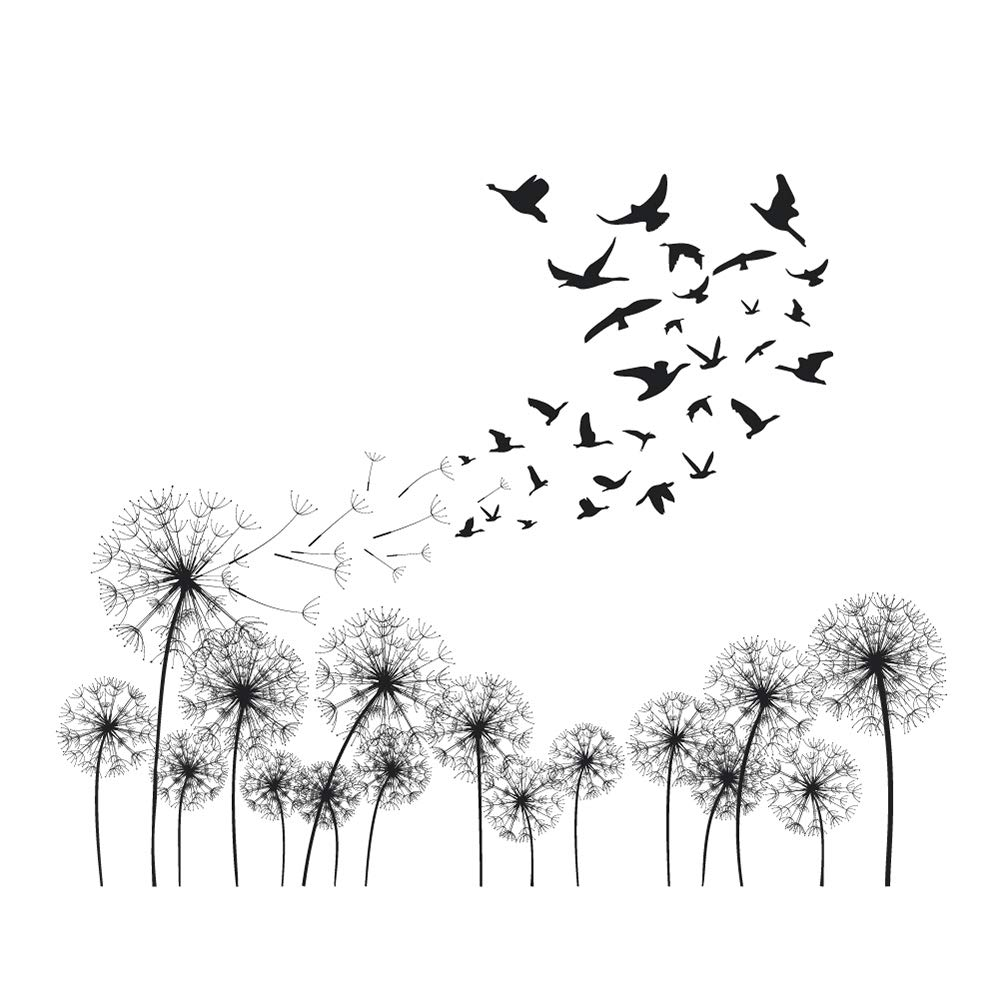 41c59b812d Amazon.com: decalmile Black Dandelions Wall Decals Flying in The Wind Birds Wall  Stickers Bedroom Living Room Office Home Decoration: Home & Kitchen