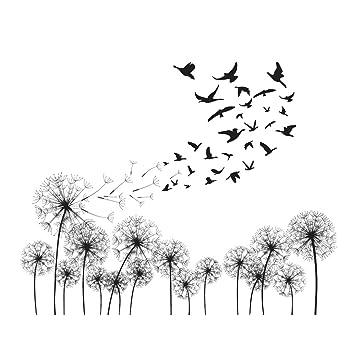 decalmile Schwarze Pusteblume Wandtattoo Vögel Fliegen im Wind ...