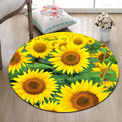 ETOB Beautiful Blooming Sunflowers Area Rugs Summer Theme Memory Foam Non-Slip Round Rug Washable Living Room Bedroom Carpet for Kids Playroom Play Mat Nursery Rugs, Dia. 4'(120cm)