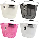 PedalPro Quick Release Mesh Bicycle Basket - 4 Colours - Pink, White, Cream OR Black