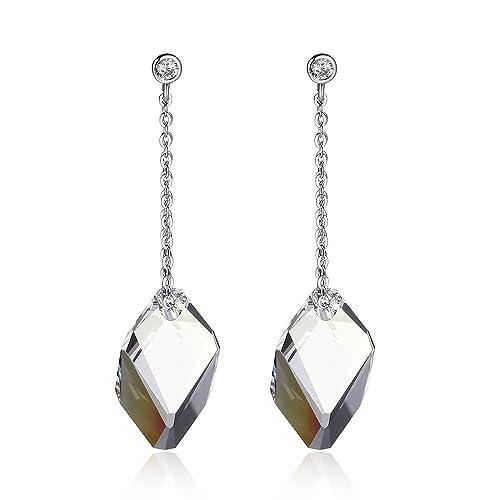 6e4072905204 Swarovski Pendientes Mujer- Aretes de Plata Fina 925 para Mujeres con  Cristales Swarovski de GoSparkling: NUEVO diseño de cierre seguro,  pendientes ...