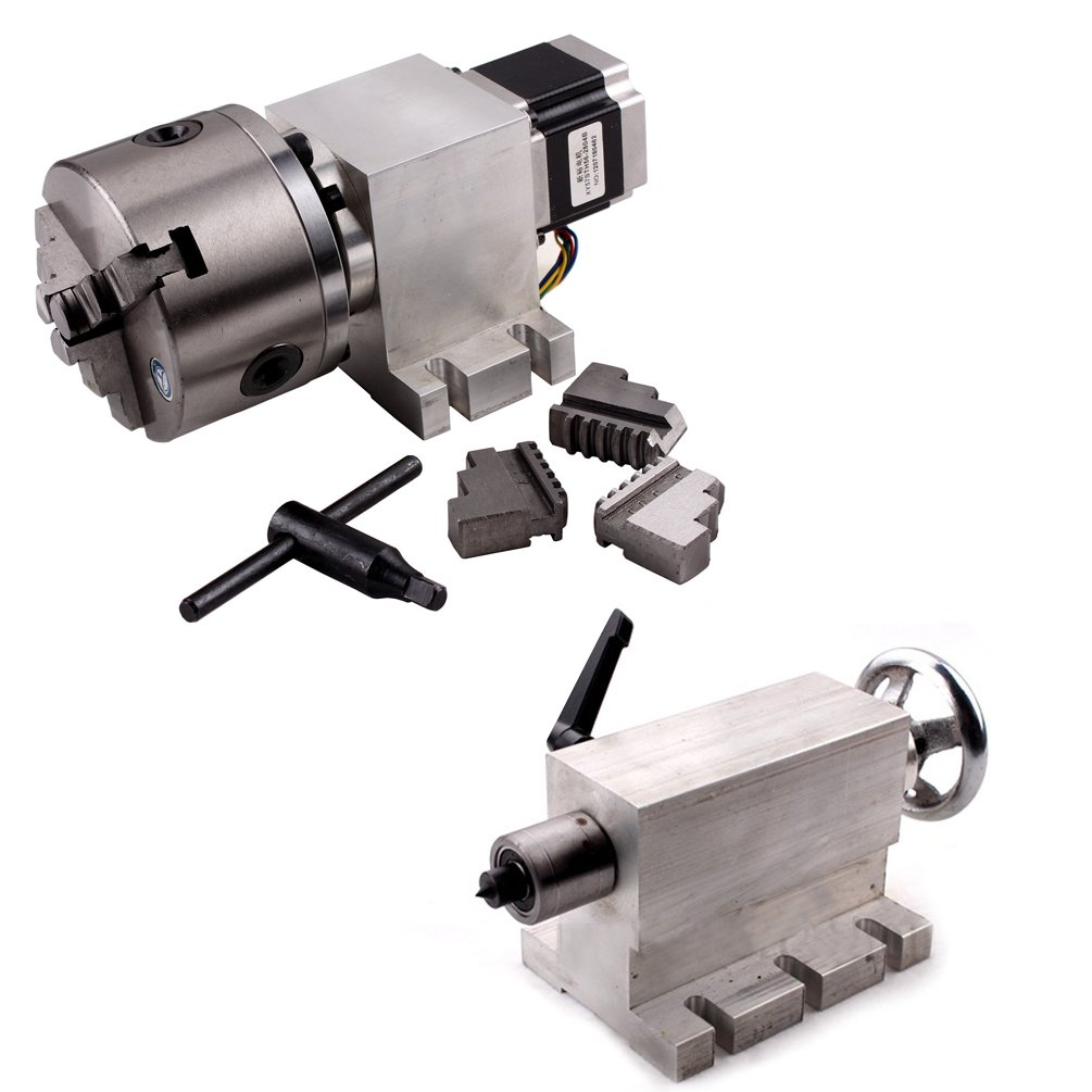 Sunwin CNC Router Rotational 4th Axis a Axis 3-jaw 100mm Chuck Gear Box 1700+tailstock