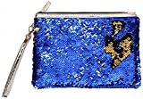 ROOSSI Mermaid Sequins Cosmetic Bag Bling Clutch Handbag Evening Clutch Envelope Bag Zipper Makeup SapphireBlue