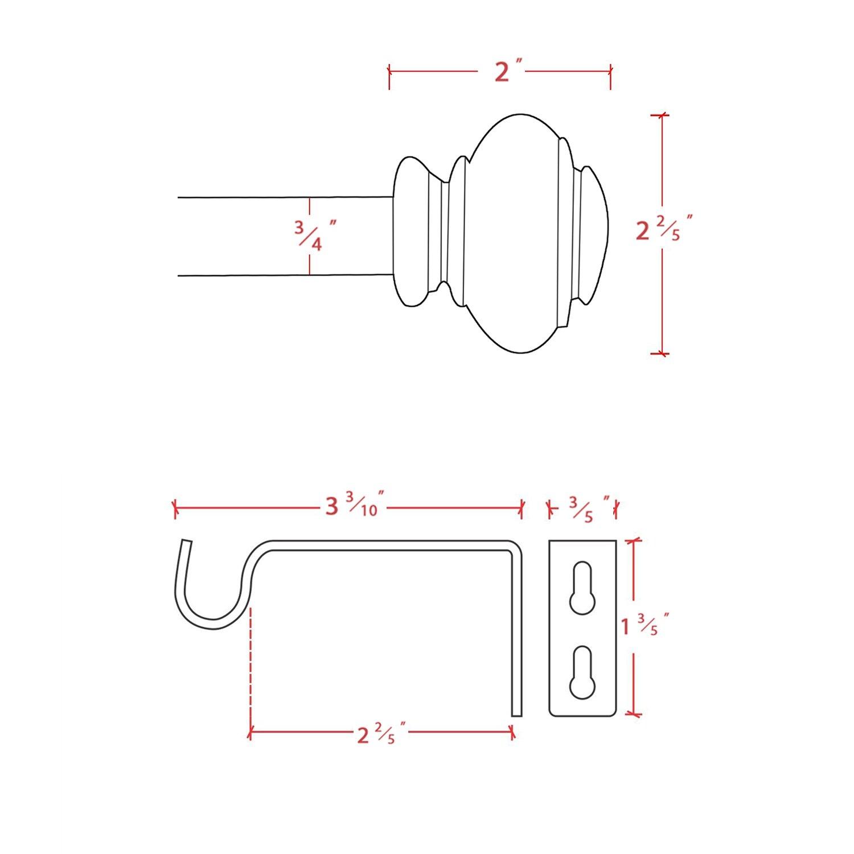 H.VERSAILTEX Window Curtain Rod, Adjusts Rod Length from 48 to 84-Inch,3/4 - Inch Diameter, Black (Antique Bronze Finishing) by H.VERSAILTEX (Image #7)