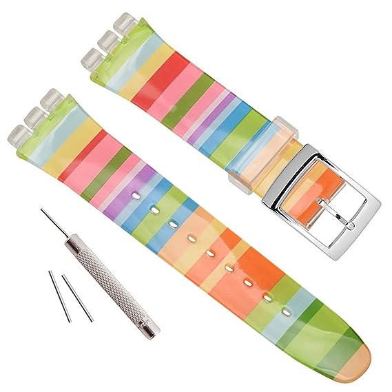 Banda de caucho de silicona resistente al agua reloj de pulsera reloj de repuesto para Swatch (17mm 19mm, 20mm)