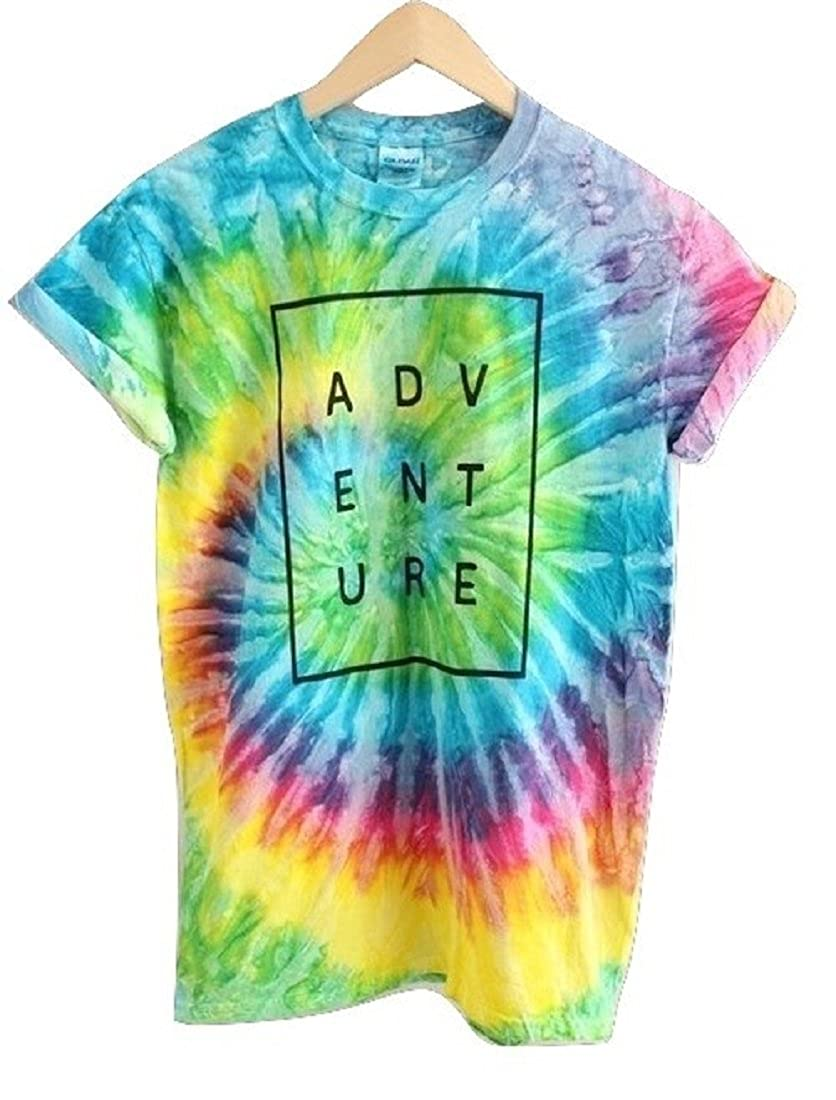 2edd71a571f ADVENTURE Bright Rainbow Tie-Dye Graphic Unisex Tee