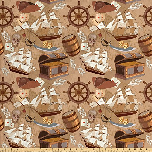 Ambesonne Pirates Fabric by The Yard, Scroll Old Pirate Treasure Map Pattern Adventure Stories Concept, Decorative Fabric for Upholstery and Home Accents, Pale Brown White Grey (Map Pirate Fabric)