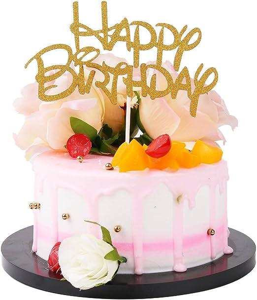 Amazon.com: SUNNY ZX feliz cumpleaños oro decoración para ...