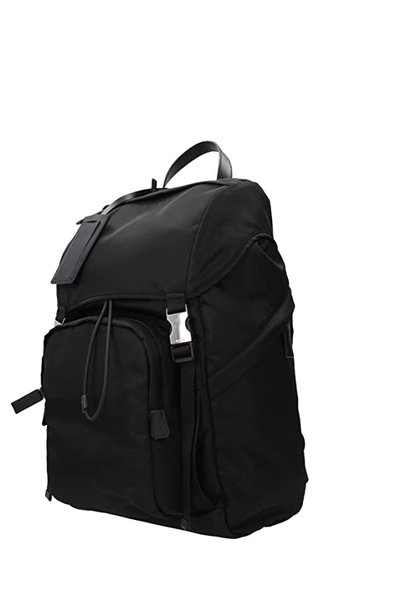 Bags Backpack Prada Men Fabric Black and Silver 2VZ135NERO Black 15x26x43 cm:  Amazon.co.uk: Clothing