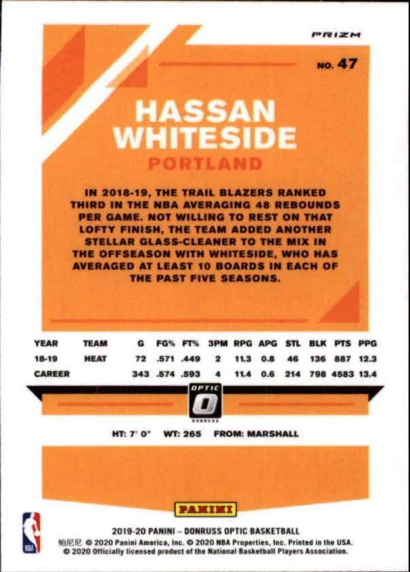 INDIVIDUAL CARD ONLY #47 Hassan Whiteside Portland Trail Blazers Official NBA Basketball Trading Card From Panini America 2019-20 Donruss Optic Fanatics Excluisve Set Silver Wave