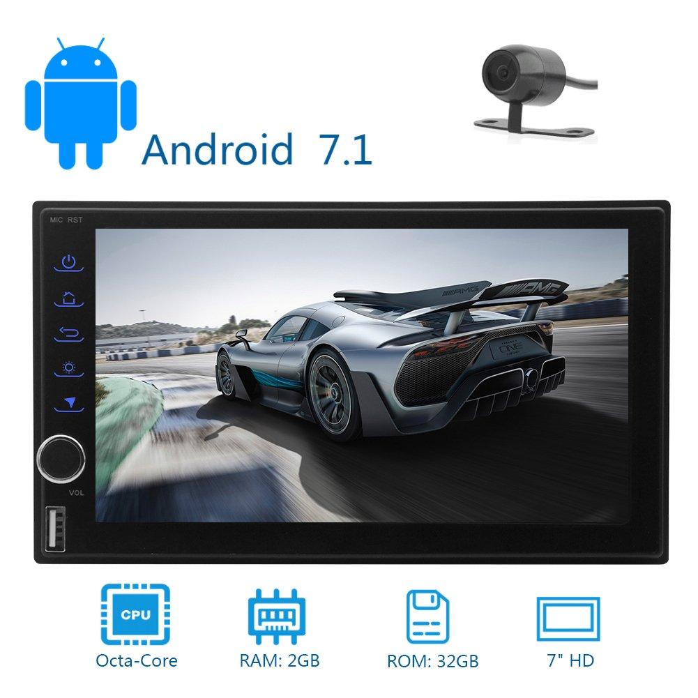 2ギガバイト32ギガバイトのAndroid 7.1ダブルディン、ダッシュカーステレオラジオGPSナビゲーションサポート4G WIFI、ブルートゥース内蔵マイクAM FM Mirrorlinkは、ステアリングホイールコントロールをサポートで リアカメラ付き B0761QRV1Q
