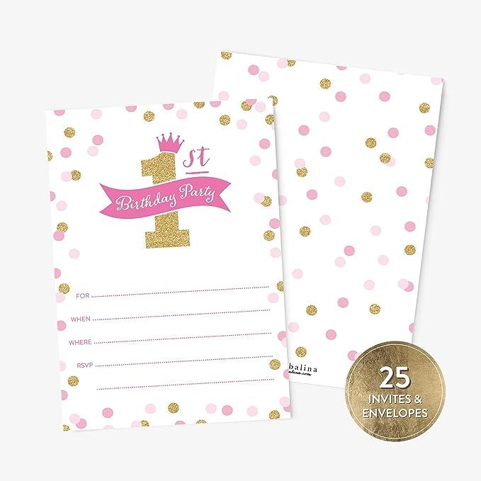 25 invitaciones de fiesta de cumpleaños de princesa y sobres ...