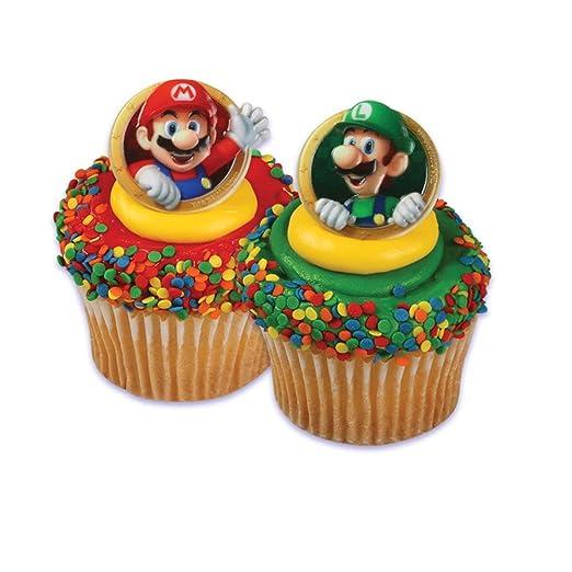 Super Mario Bros Luigi 24 Cupcake para anillos de regalo ...