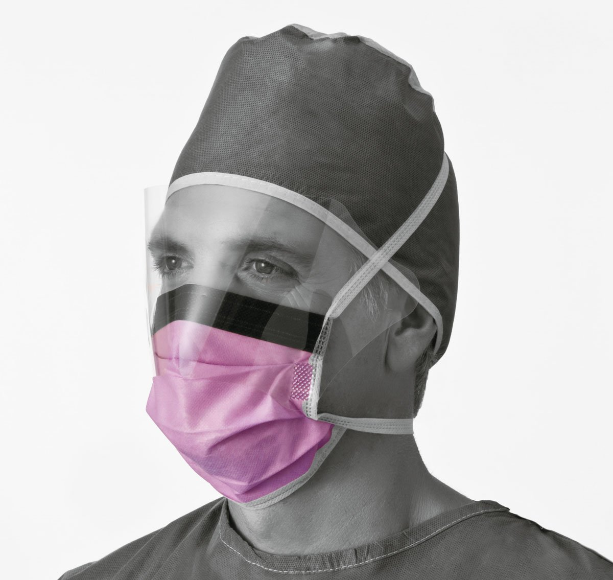 Medline NON27410 Surgical Face Masks with Eyeshield, Fluid-Resistant, Anti-Fog, Latex Free, Purple (Pack of 100)