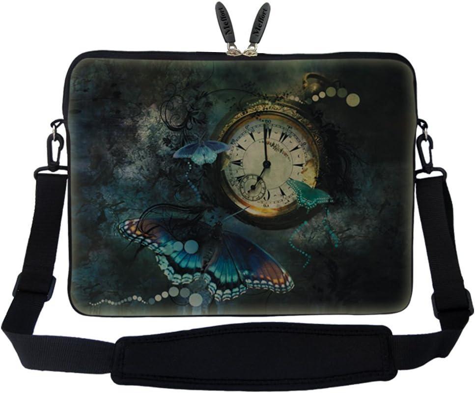 Meffort Inc 14 14.1 Inch Neoprene Laptop Sleeve Bag Carrying Case with Hidden Handle and Adjustable Shoulder Strap (Clock Butterfly)