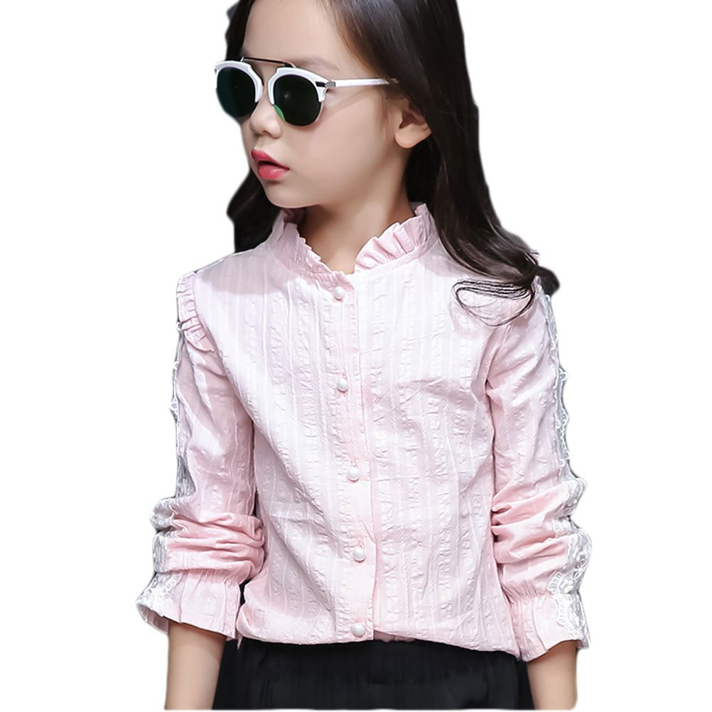 C'est Moi Girls Blouse Casual Top Button Down Shirts Stand Collar
