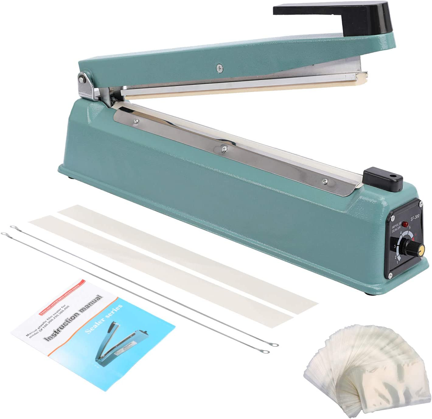 Hopeson 16 inch Impulse Bag Sealer, Manual Poly Bag Heat Sealing Machine Adjustable Timer Electric Heat Seal Closer with 100PCS 4X6 Inch Shrink Wrap Bag and 2 Free Replacement Kit (Blue)