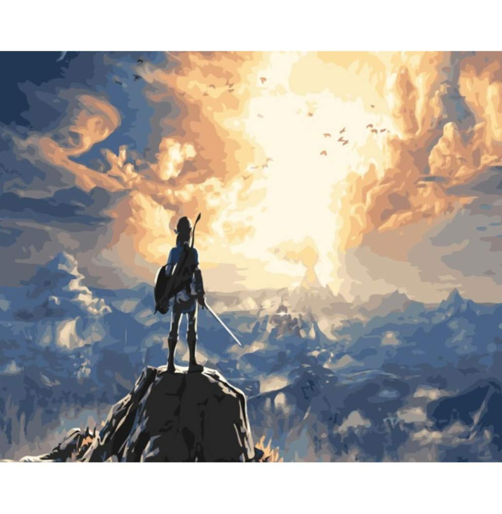 HYDWX The Legend of Zelda Breath of The Wild DIY Oil Painting by Numbers On Canvas Game Wall Art Pictures for Living Room 40x50CM by HYDWX