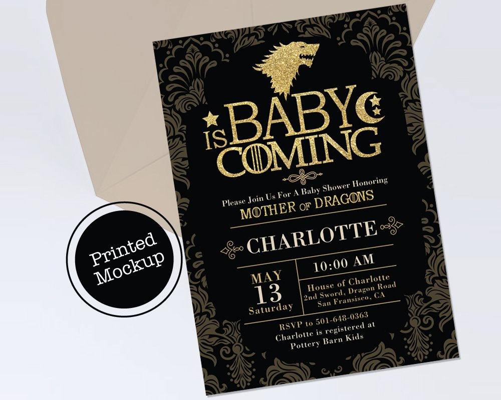 Amazoncom Baby Shower Game Of Thrones Inspired Invitation Mother