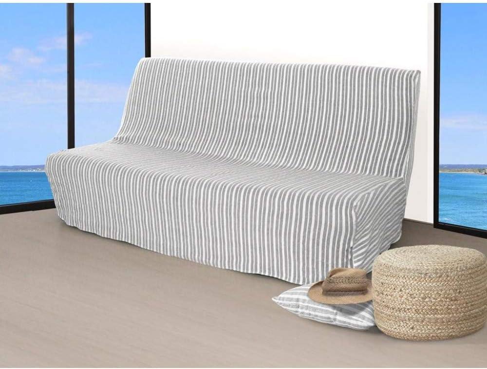 Ecru 190x140 cm Soleil docre Housse clic-clac Jacquard Largeur 190 cm COTONADE /Ã/©cru Polyester Coton