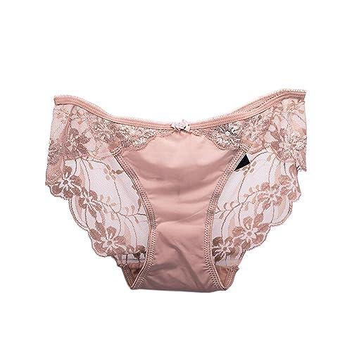Meijunter Mujer Ropa interior Bordado Transparent Encaje Sin Costura Respirable Panties Bragas