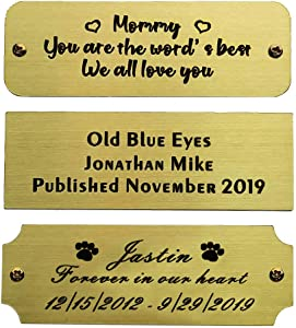 """Size: 3"""" W x 1"""" H, Personalized, Custom Engraved, Brushed Gold Solid Brass Plate Picture Frame Name Label Art Tag for Frames, with Adhesive Backing or Screws - Indoor use only"""