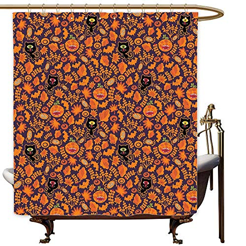Shower stall Curtains Vintage Halloween Halloween Themed Elements on a Purple Background Scary Mosters Shower stall Curtain W55x86L Dark Purple Orange]()