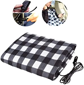 Hamosky Electric Heating Blanket, 12V Lattice Fleece Car Supplies Winter Hot Car Constant Temperature Heating Blanket for Travel Camping Picnic Heater 55.12x39.37in/145x100cm (Black Blanket)