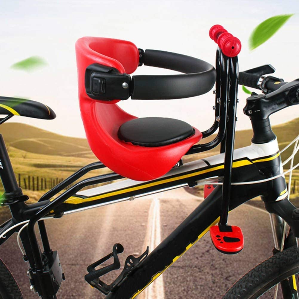 Adjustable Kids Front Bike Seat Child Bicycle Safety Chair Bicycle Front Safety Chair Baby Carrier Saddle Cushion Lightweight and Good-strength Ergonomically for 1-6 Year Kids Child Bike Seat