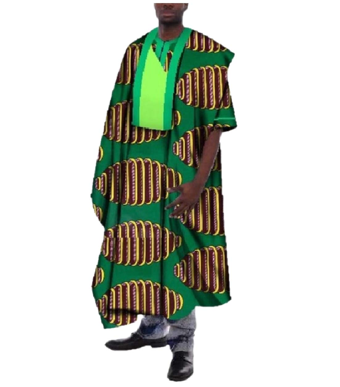 SportsX Men Traditional Short Sleeve Long African Printed Dashiki Robe Dark Green M