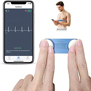 Heart Monitor, Wearable Chest Strap Bluetooth Heart Health Tracker w Free App for iOS & Android Phone, Portable Handheld 30s - 15mins Recording Heart Monitoring Device for Fitness Home Use DuoEK