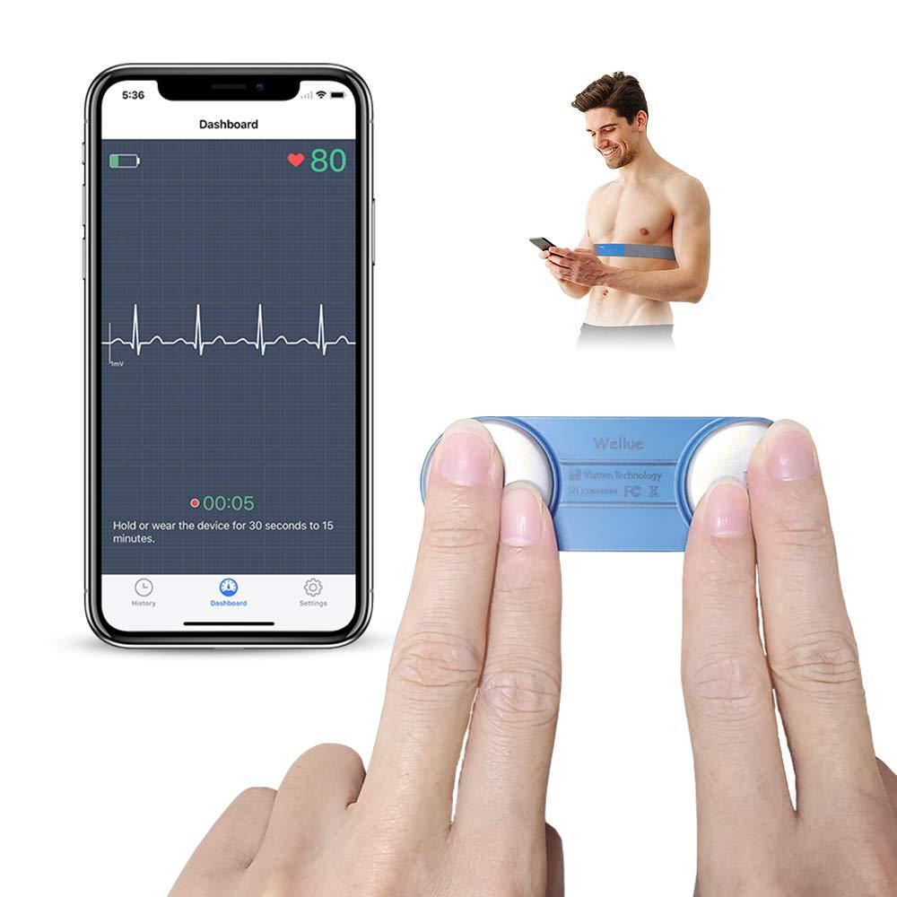 Monitor ECG Portátil, ViATOM Monitor de ECG del Cinturón Torácico, con Bluetooth Aplicación de Movíl para iOS/Android, Detección en 30s - 15mins, Monitor de ECG Portátil para Uso en el Hogar
