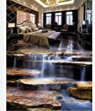200cmX140cm Home Decoration 3d wallpaper pvc Stone waterfall living room bathroom 3d flooring waterproof floor,B