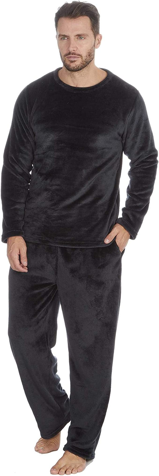 Style It Up Conjunto de pijama para hombre con acabado brillante, suave y cálido de franela de forro polar