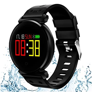 JIHUIA Actividad Impermeable IP68 Aptitud Rastreadores, 0.95 OLED Redondo Toque Inteligente Reloj Ritmo cardiaco Presión sanguínea Dormir Monitor por ...