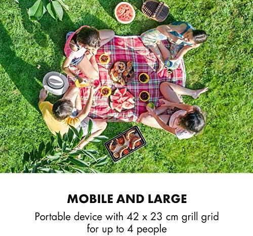 Klarstein Micro-Q 3131 Barbecue au charbon de bois - BBQ portable, BBQ de camping, Rectangulaire, Grille 42x23 cm (Ø), À piles, Sac de transport, Noir