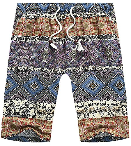 (HENGAO Men's Linen Tribal Printed Quick Dry Casual Board Shorts, Blue, W36 = Tag 4XL)