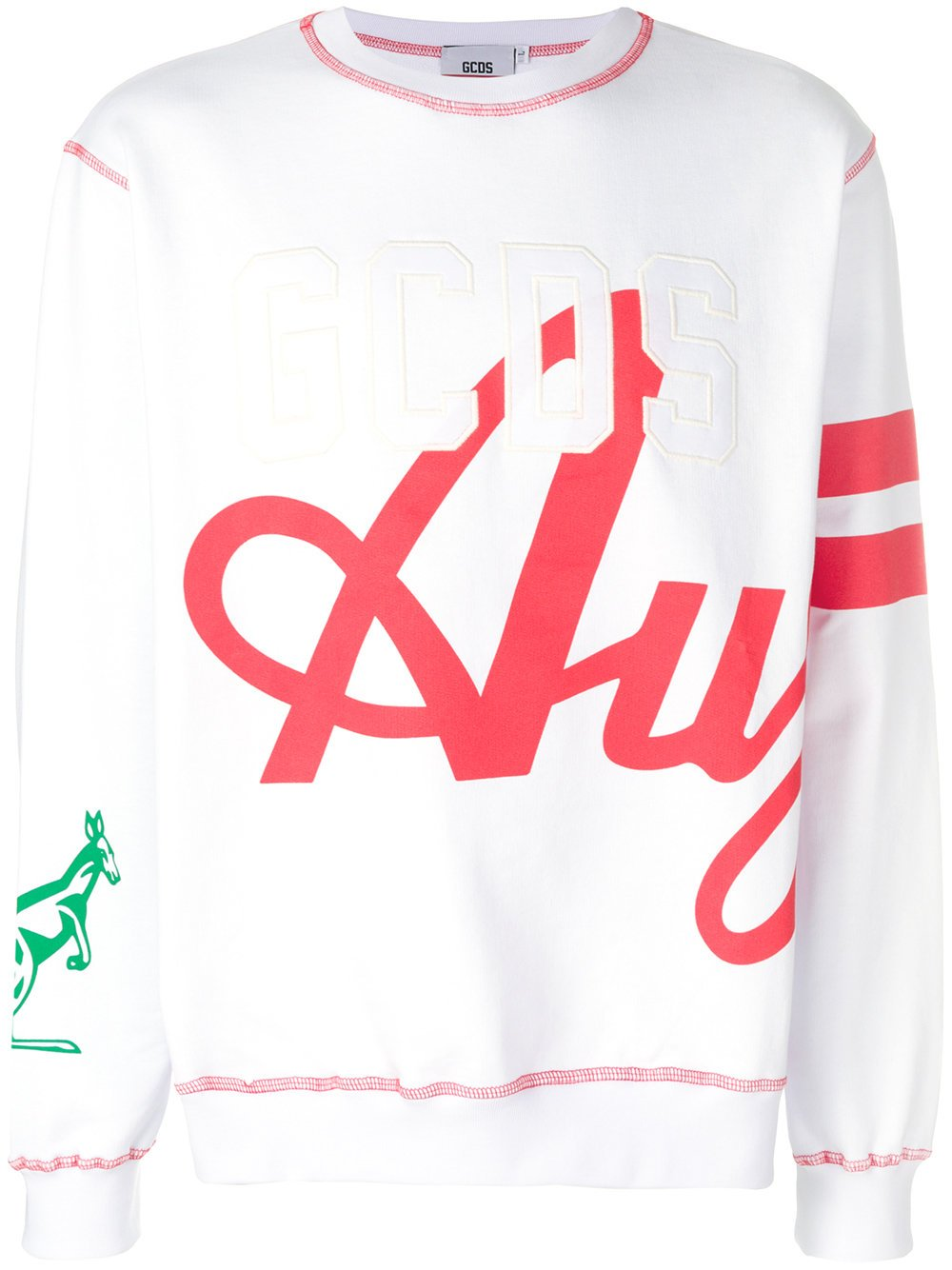 GCDS Men's Ss18m01au0501 White Cotton Sweatshirt