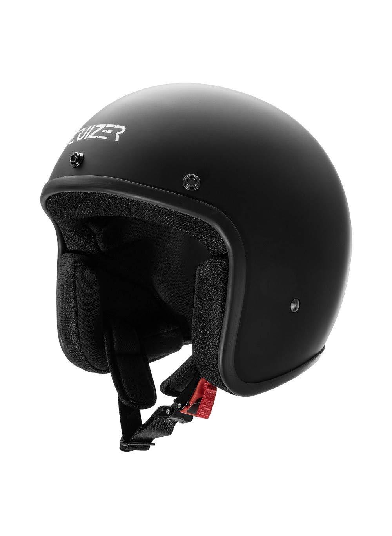 L CRUIZER Casco omologato per scooter moto Jet Nero Opaco senza visiera con calotta esterna in fibra interni anallergici e traspiranti visierino parasole rimovibile