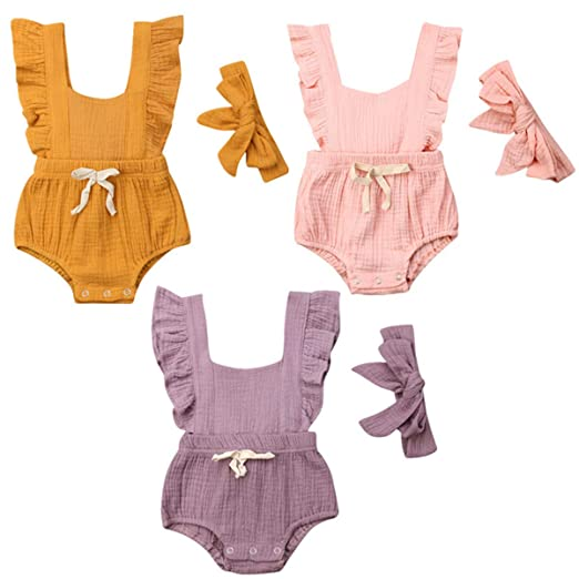 257f11817e8b6 Amazon.com: ViWorld Newborn Baby Girl Romper Bodysuits Cotton Flutter  Sleeve One-Piece Romper Outfits Clothes with Headband: Clothing