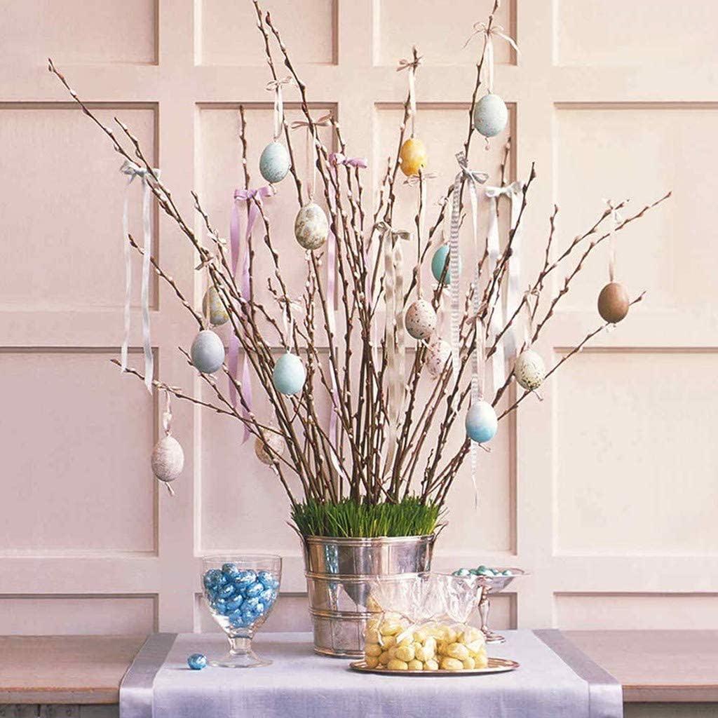 Dowager Easter Eggs,50pcs Plastic DIY Easter Eggs with 8pcs Color Pens,Vintage Style Paper Mache Egg Hanging Ornaments Easter Decoration for Hanging Decor and DIY Crafts