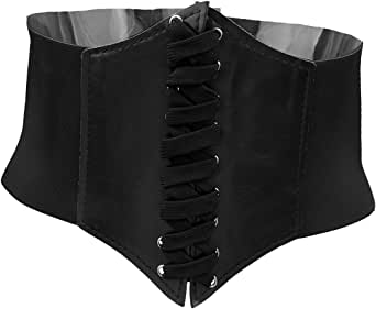 Prettyia Women Ladies Leather Wide Elastic Buckle Waist Belt