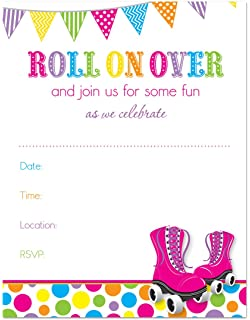 Amazon roller skating birthday party invitations ten 5x7 24 hot pink roller skates bright dots fill in birthday invitations stopboris Image collections