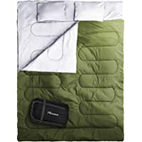 Reehut Double Sleeping Bag with 2 Camping Pillows & Carrying Bag - Portable for Camping, Hiking, Backpacking - Perfect for Cold Weather