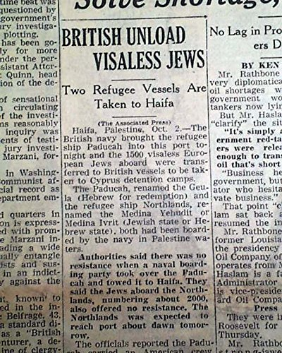 Refugee Ship - PADUCAH & NORTHLAND Jews Jewish Palestine Refugees Ships Captured 1947 Newspaper THE TIMES-PICAYUNE, New Orleans, October 3, 1947