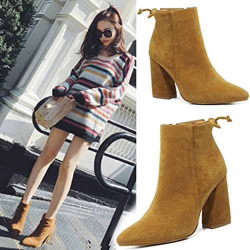 Strap Boots And Naked Suede Pointed Female Boots Medium High Short Heeled Brown Boots Women's Thick Boots KPHY Rear With shoes Martin nqTSx07wwP